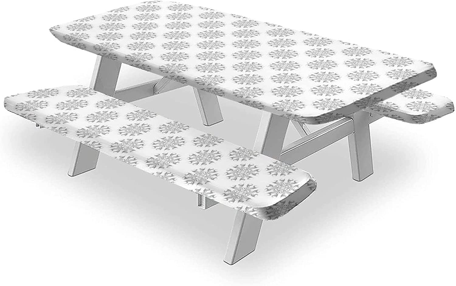 Colorful Tablecloths Max 70% OFF 3PCS Picnic Table and Cover Gray Bench Flor Oklahoma City Mall