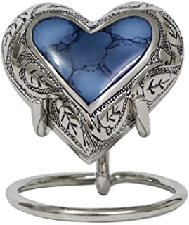 THE ASCENT MEMORIAL Blue Cloud Heart Shape Small Urn for Human Ashes, Blue Heart Small Keepsake Urn for Ashes with Display Stand, Velvet Carry Bag and Velvet Gift Box