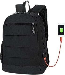Dengyujiaasj Backpack, USB computer bag shoulder bag laptop backpack leisure backpack. (Color : Black)