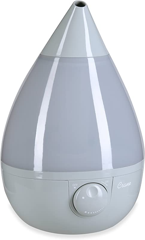 Crane Ultrasonic Cool Mist Humidifier Filter Free 1 Gallon For Home Bedroom Baby Nursery And Office Grey