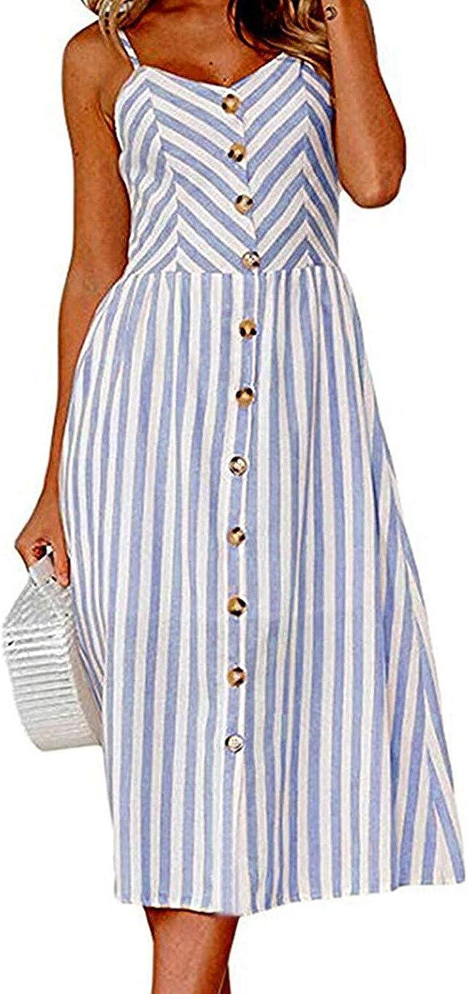 Angashion Women's Dresses-Summer Floral Bohemian Spaghetti Strap Button Down Swing Midi Dress