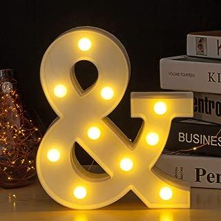 Youzone LED Marquee Letters Plastic LED Letter Lights Alphabet Light Up Sign Decoration Letters A - Z Symbol & (&)