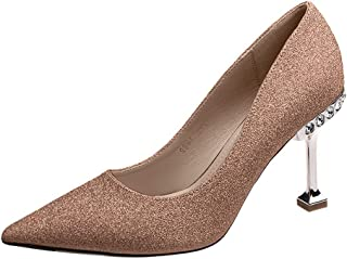 YLing Women's Pointed Toe Shoes Stiletto Sequin Shallow Heels Shoes Crystal Sandals