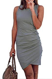 cf42d7674c BTFBM Women s 2019 Casual Crew Neck Ruched Stretchy Bodycon T Shirt Short  Mini Dress