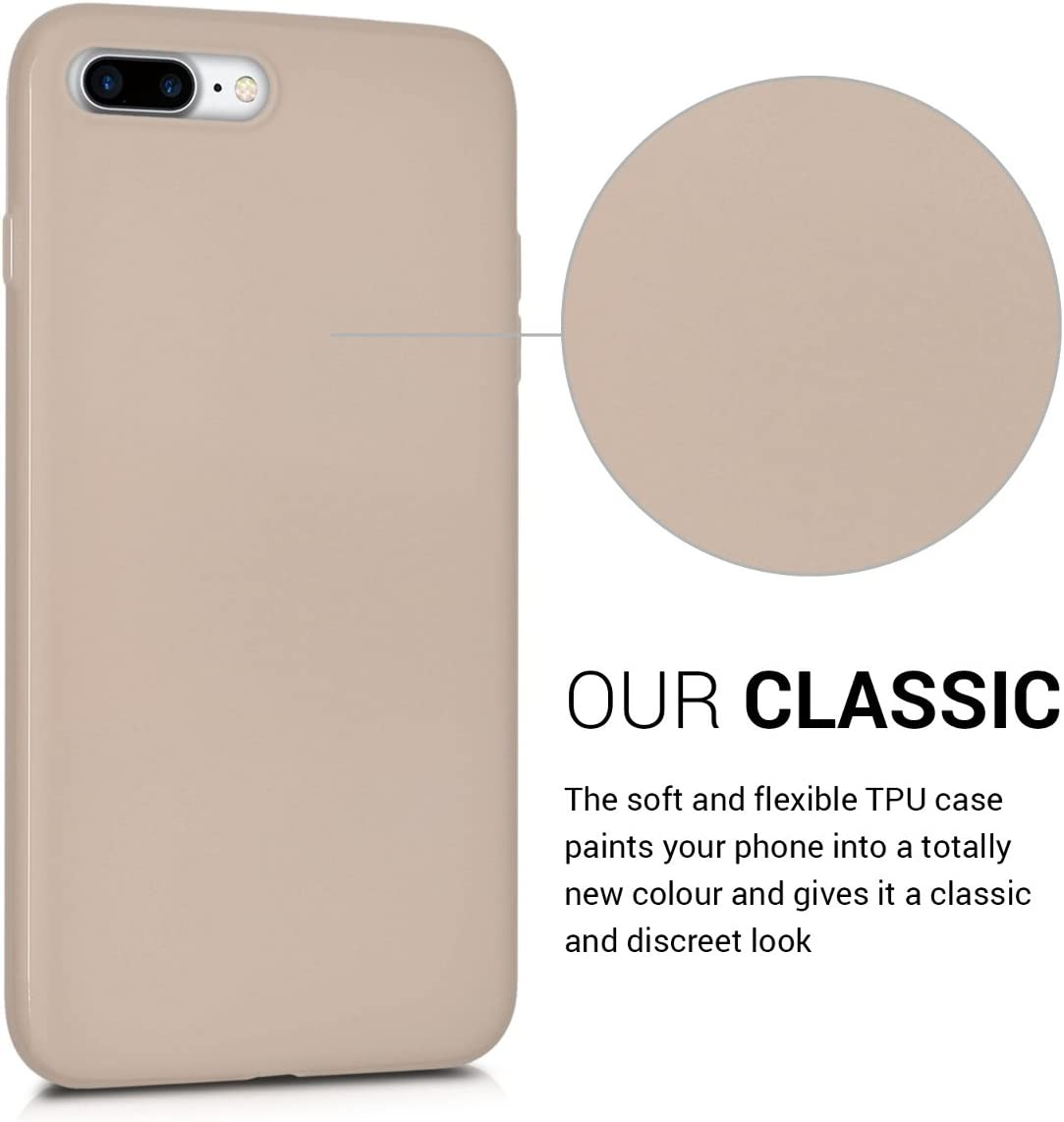 kwmobile TPU Case Compatible with Apple iPhone 7 Plus / 8 Plus - Case Soft Slim Smooth Flexible Protective Phone Cover - Beige Matte