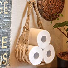 ZMIN Wandmontage Hennep Touw Toilet Papier Houders, boho Nautical Toilet Dispencer Opslag Home Decor Tissue Roll Stand Fit...