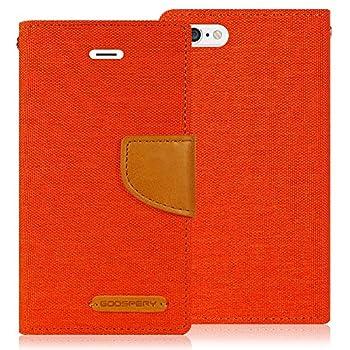 Goospery Canvas Wallet for Apple iPhone 6S Plus Case 2015 iPhone 6 Plus Case 2014 Denim Stand Flip Cover Orange IP6P-CAN-ORG