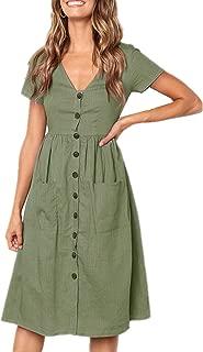 Womens Dresses Short Sleeve Button Down T Shirt Midi Skater Dress with Pockets