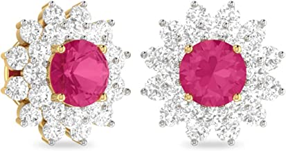Silvernshine Jewels 0.08 Cts Round Sim Diamond & Pink Alyn Stud Cluster Earring 14K Yellow Gold Plated