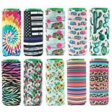 HaiMay 10 Pieces Slim Beer Can Sleeves Beer Can Cooler Covers Fit for 12oz Slim Energy Drink Beer Cans, Fashion Styles