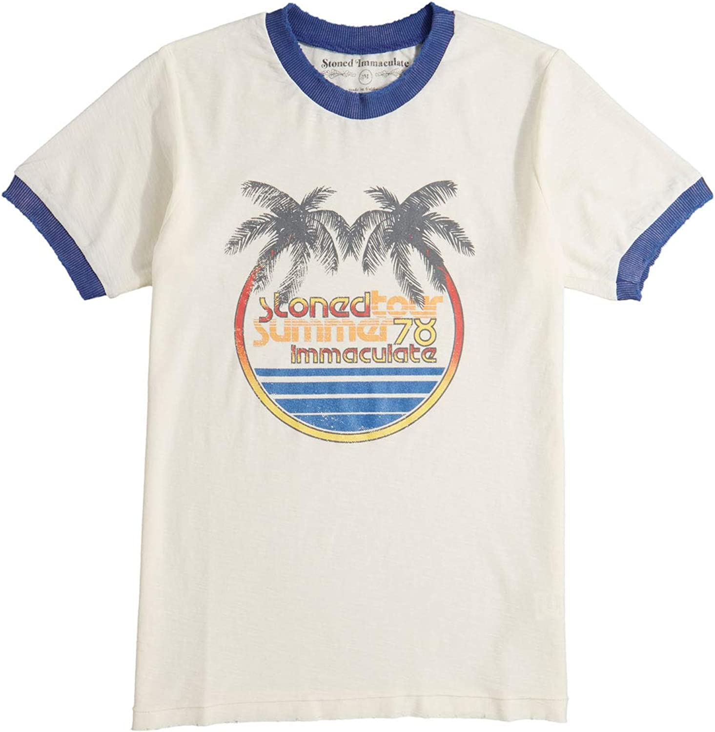 Stoned Immaculate Womens Summer Tour TShirt  White Navy