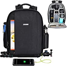 CADeN Camera Backpack Professional DSLR Bag with USB Charging Port Rain Cover Photography Laptop Backpack for Women Men Waterproof Camera Case Compatible for Sony Canon Nikon Lens Tripod Accessories