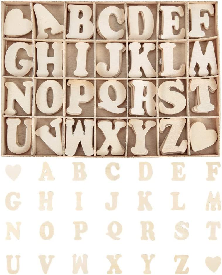 PandaHall 112pcs 1.5 Soldering Inch Wooden Letters Set- Small Wo Heart Ranking TOP1 A~Z
