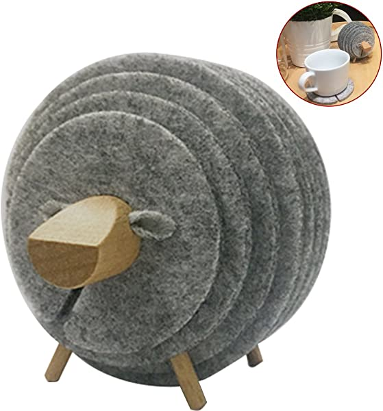 WINGOFFLY Super Cute DIY Sheep Shaped Felt Table Coaster Cup Mat Set Grey