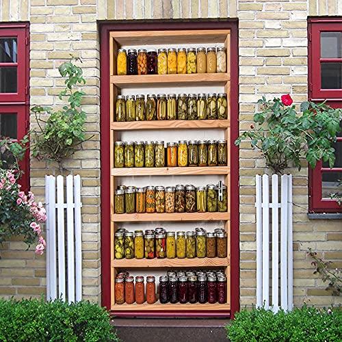 SONYUN Murales para Puertas 3D Botella De Muebles Creativos Murales para Puertas para Papel Pintado Autoadhesivo, Impermeable Papel Pintado Puerta Mural Puertas Pegatinas para Puertas