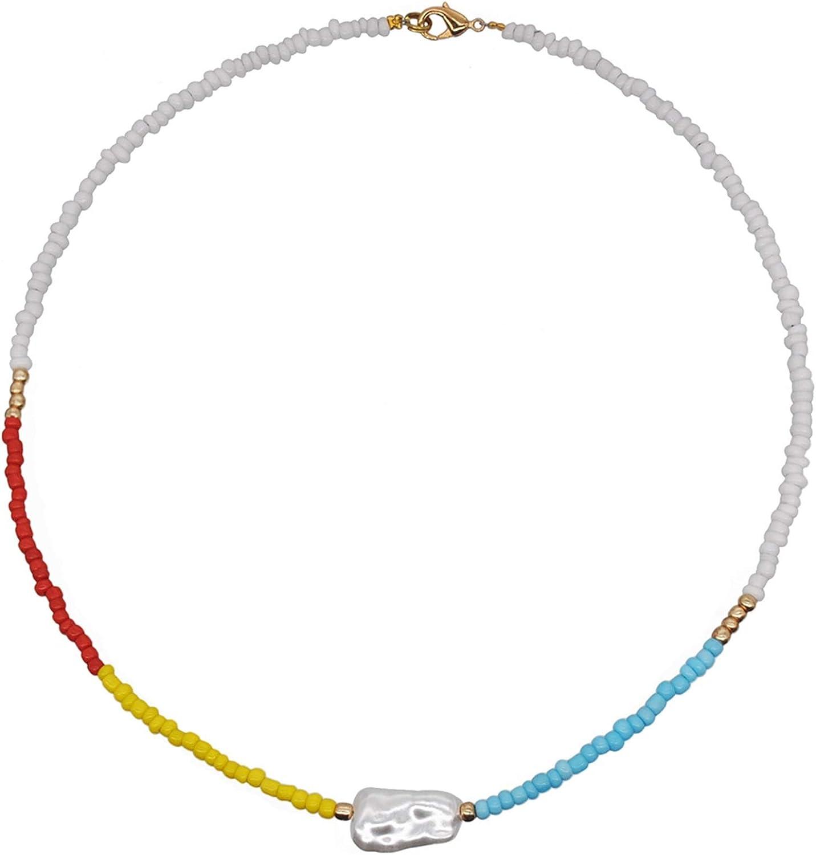WAZG SYBLD Handmade Bohemian Fashion Beaded Necklace (Metal Color : N2305Y5)