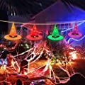 Halloween Decorations Glowing Witch Hat, 2020 4Pcs Halloween Witch Hats and 36ft Halloween Lights String Battery Operated with 8 Lighting Modes for Outdoor, Yard, Tree, Porch, Patio Pathway, Garden…