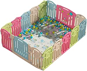 Children s play fence Activity Centres Game Fence Indoor Boy Crawling Mat Outdoor Safety Game Bed  Color Pink-E