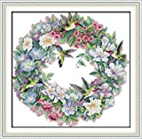 Maydear Cross Stitch Kits Stamped Full Range of Embroidery Starter Kits for Beginners DIY 11CT 3 Strands - The Art of Hummingbirds 25.6×25.2(inch)