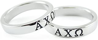 Alpha Chi Omega Sorority Sterling Silver Band Ring w/Black Enamel