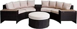 Outdoor Sectional Sofa 8-Piece Half-Moon Patio Furniture Set w/Round Coffee Table,Patio Curved Rattan Sofa Set w/Beige Fabric Cushions