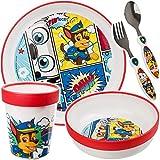 alles-meine.de GmbH 5 TLG. Kindergeschirr + Besteck Set - Paw Patrol - Hunde - BPA frei - Mikrowellen geeignet - Kunststoff - Trinkbecher + Teller + Müslischale + Kinderbesteck -..