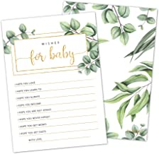 50 Greenery Wishes for Baby Cards by Hat Acrobat | Gender Neutral Wishes and Advice Cards | Baby Shower Games and Activiti...