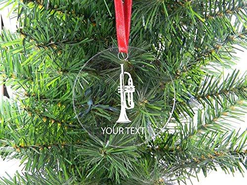 DKISEE Gepersonaliseerde trompet helder glas kerstboom opknoping ornament, 3