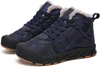 Qiucdzi Kids Snow Boots Lace-Up Waterproof Non-Slip High Top Shoes for Boys Girls with Fur Lining
