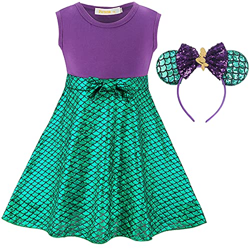 Funna Princess Costume Short Dress Up for Toddler Girls with Headband, 7-8 Years Purple