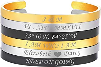 U7 Stainless Steel Personalized Cuff Bracelet Free Custom Engrave Initials/Name/Date/Location Mantra Jewelry, Solid Bangle for Men and Women, Birthday Gift