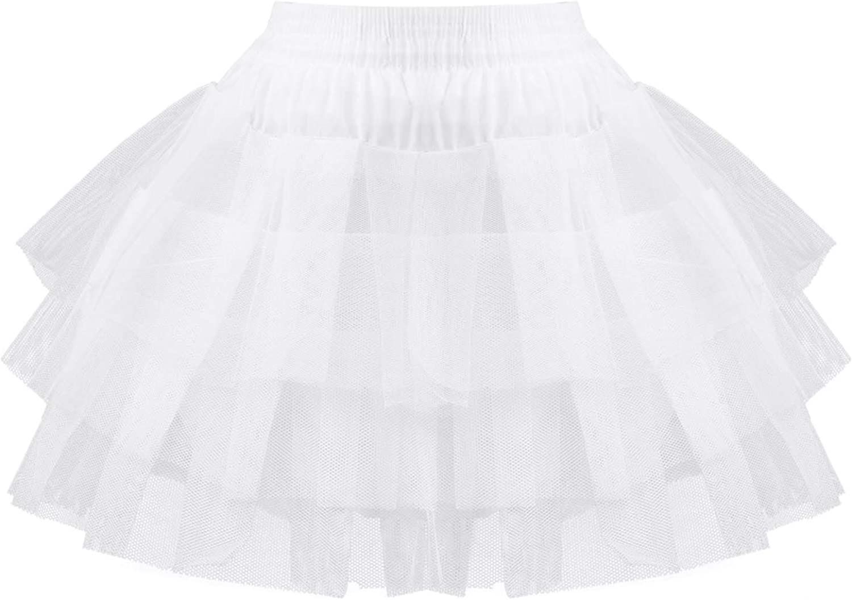 YOOJIA Kids Flower Girls Hoopless Petticoat Slip Elastic Waistband with 3 Layers Elastic Kids Crinoline Underskirt