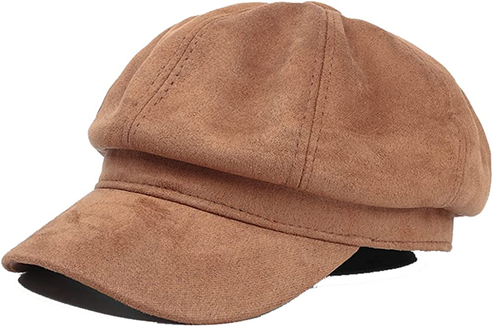 Molodo Womens Winter Suede Newsboy Cap, Warm Beret Hat 8 Panels Solid Visor for Girls