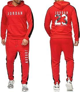 Jordan # 23 Tuta Uomo Autunno Inverno Felpa con Cappuccio + Coulisse Pantaloni Maschio Felpe con Cappuccio Pallacanestro A...