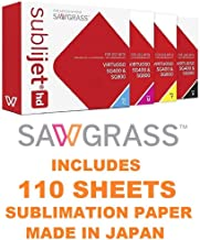 SAWGRASS SUBLIJET HD Ink Cartridges for Sawgrass Virtuoso SG400 and SG800 Printer. Complete Set. Bundle with SUBLIMAX Sublimation Paper 110 Sheets 117gsm (Made in Japan).