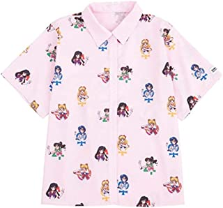 Sailor Moon Kawaii Blouse Harajuku Top Sweet Shirt Anime Women Girl Short Sleeve T-Shirt Cosplay Pink