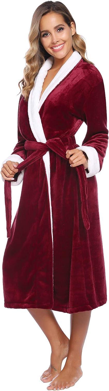 iClosam Bademantel Damen, Morgenmantel Winter Flanell Kontrastfarbe Saunamantel Pyjama Nightwear mit Kapuze und Gürtel Perfekt für Loungewear, Nachtwäsche, Spa Stil 2: Weinrot