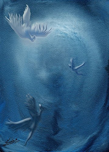 IMPRESSION-sur-TOILE-ENROULÉE-Ignote-Enchanteur-lumière-oiseaux-bleu-ciel-voler-Sundas-Marco-Animaux-Affiche-imprimer-sur-toile-enroulée-100%coton-pour-décoration-murale-Dimensions-71_X_51_cm