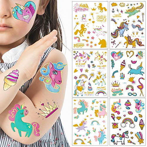 Unicorn Temporary Tattoos for Kids Gold Glitter Tattoos Unicorn Party Favors and Birthday Decorations for Girls Boys 6 Sheets