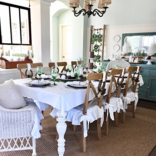 Linen Chair Seat Covers, Regular Size, White Linen, Ruffle on 4 Sides (no pad included - just a slip cover)