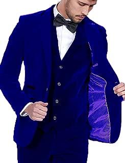 DGMJ Mens Suits Slim Fit 3 Piece Tuxedo Outfits for Men Formal Velvet Blazer for Party XZ001
