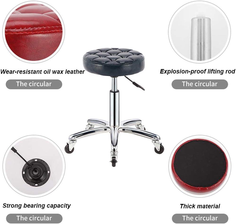 LIBWX Chaise d'esthéticienne de Levage Tabouret réglable Salon de Coiffure Chaise de Coiffure esthéticienne siège en Cuir Rond équipement de beauté avec Roues,G# E#