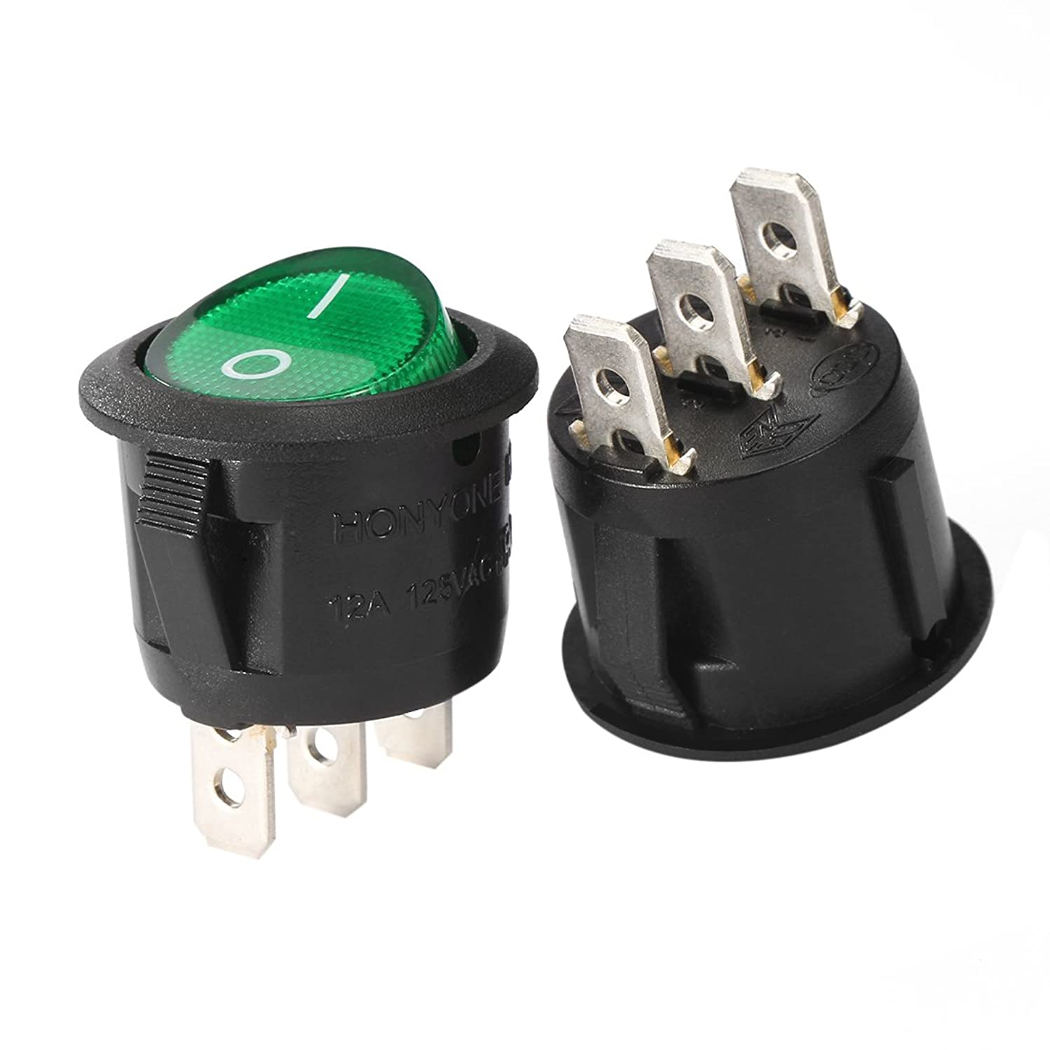 uxcell 5Pcs Illuminated Green Lamp On/Off 3 Terminal SPST 2 Position I/O Round Button Toggle Mini Boat Rocker Switch AC 250V/10A 125V/12A