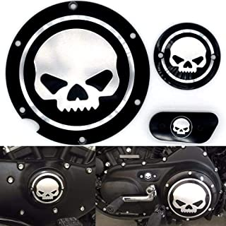 Frenshion Compatible for Motorcycle Black Chrome Skull Timing Accessories Engine Derby Timer Cover For Harley Sportster Iron XL 883 1200 04-14 (Pack of 3pcs)