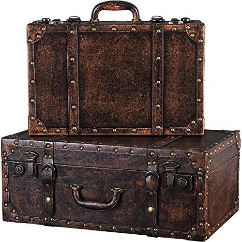 Troncos de almacenamiento Conjunto de 2 equipaje retro Maletas Cajas de madera Decoración Fotografía Nostálgico Decoración Tienda de ropa ventana de visualización para dormitorio, sala de estar, vesti