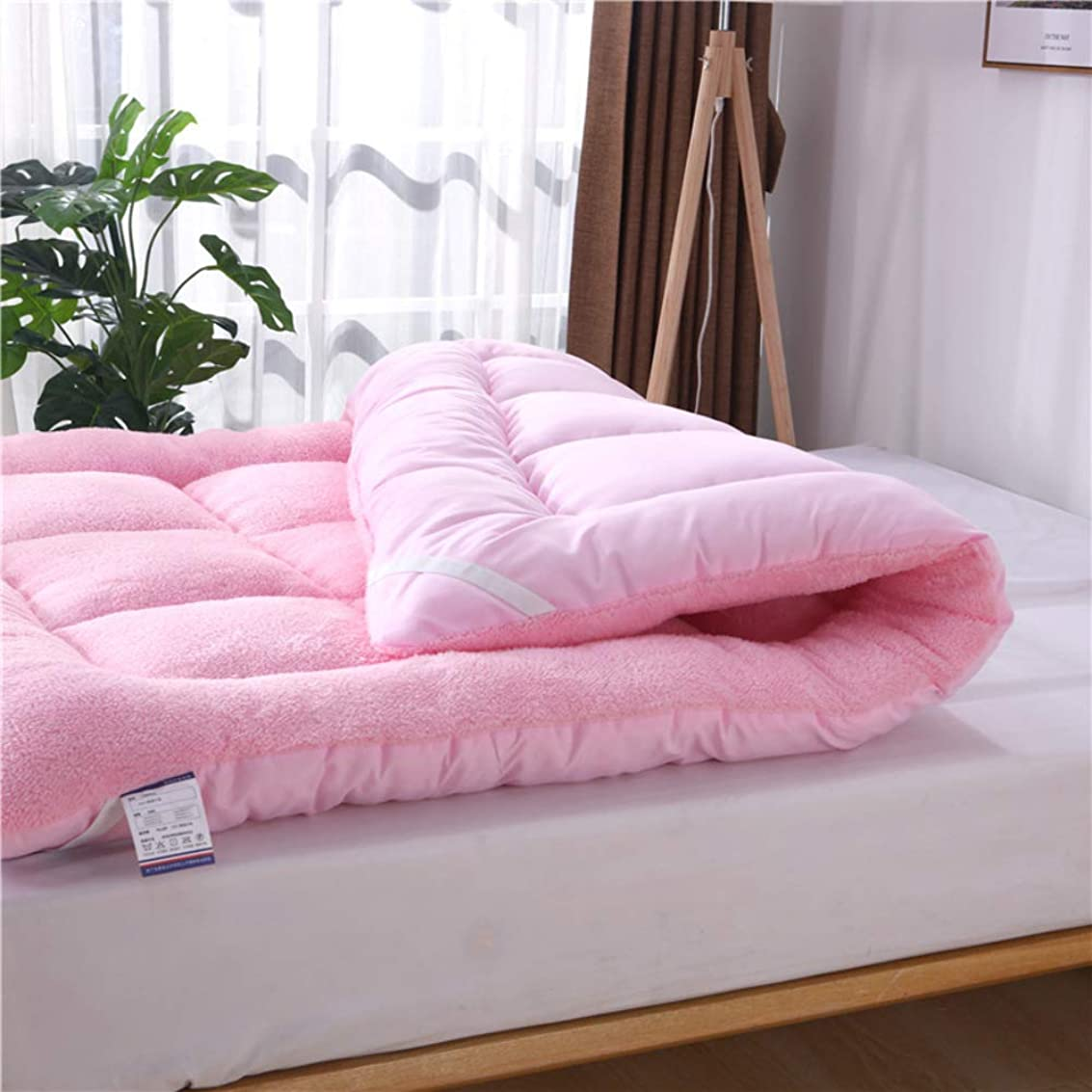 卑しいビームまたはどちらかソフト ぬいぐるみ 布団フロアマットレス, カシミアとブラシ付き生地 元に戻せる状態 パッドを睡眠 じゃない-スリップ 通気性 マットレス トッパー-ピンク フル