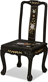China Furniture Online Black Lacquer Side Chair, Hand Painted Chinese Peony Design with Maiden Mother Pearl Inlay Back Black