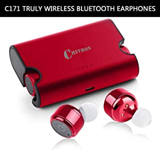Chevron Truly Wireless Bluetooth v4.2 Earphones Headphones with Deep Bass Stereo Sound, Charging Box and handsfree mic (Wine Red)