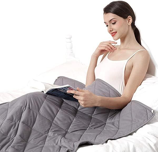 FAMTOP 舒适加重毛毯 15 磅 48 72 双人尺寸成人 130 160 磅优质棉重被子玻璃珠 15 磅 48 灰色