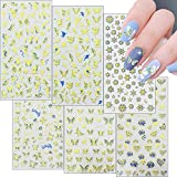 6 Sheets Blue Color Butterfly Nail Decal 5D Stereoscopic Engraved Pattern Design Nail Stickers DIY Nail Self Adhesive Design Decoration Art Accessories Nail Salon Designer Supplies